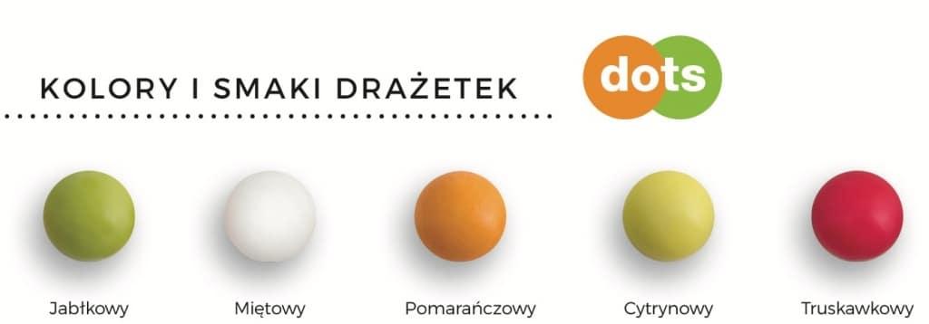 Kolory i smaki drażetek Dots
