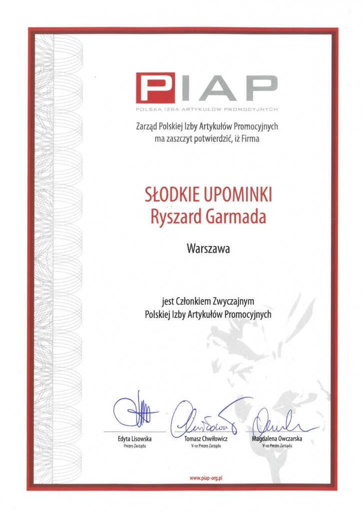 Słodkie Upominki członkiem Polskiej Izby Artykułów Promocyjnych