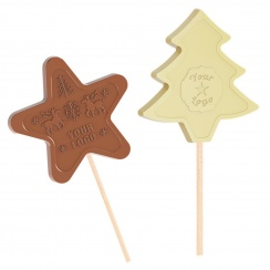 Chocolate star and christmas tree lollipops