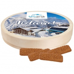 WOODEN BOX WITH SPICE-CARAMEL COOKIES 170 G