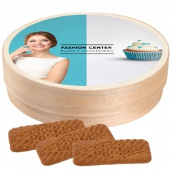 WOODEN BOX WITH SPICE-CARAMEL COOKIES 70 G