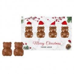 CHRISTMAS CARD WITH CHOCOLATE TEDDY BEARS
